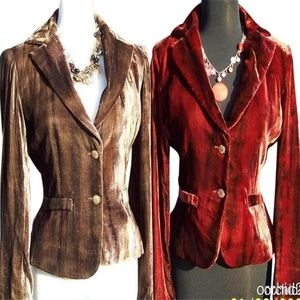 Cache Velvet Dip-Dye Jacket Coat Top New Lined